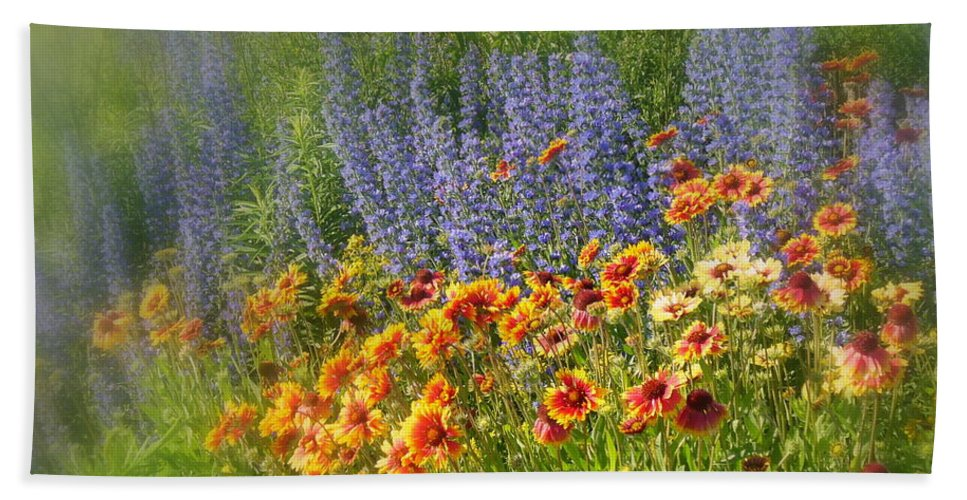 Floral Beach Towel featuring the photograph Fields Of Lavender And Orange Blanket Flowers by Lingfai Leung