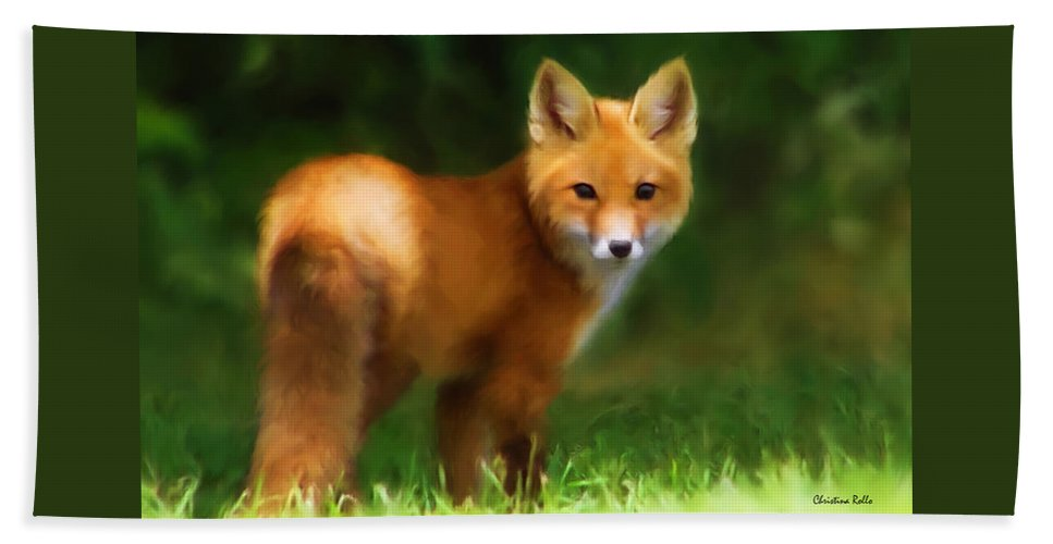 Red Fox Beach Towel featuring the mixed media Fiery Fox by Christina Rollo
