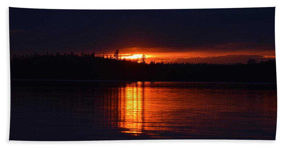 Water Beach Towel featuring the photograph Fiery Glow by Thomas Phillips