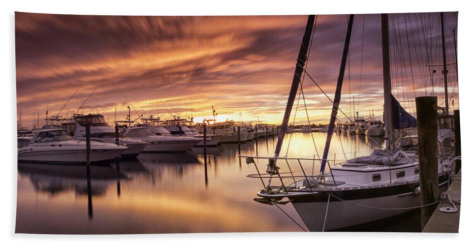 Sunset Beach Towel featuring the photograph Fiery Sunset At Stuart Marina by Fran Gallogly