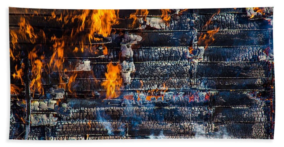 Ash Beach Towel featuring the photograph Fiery Transformation by Andrew Slater
