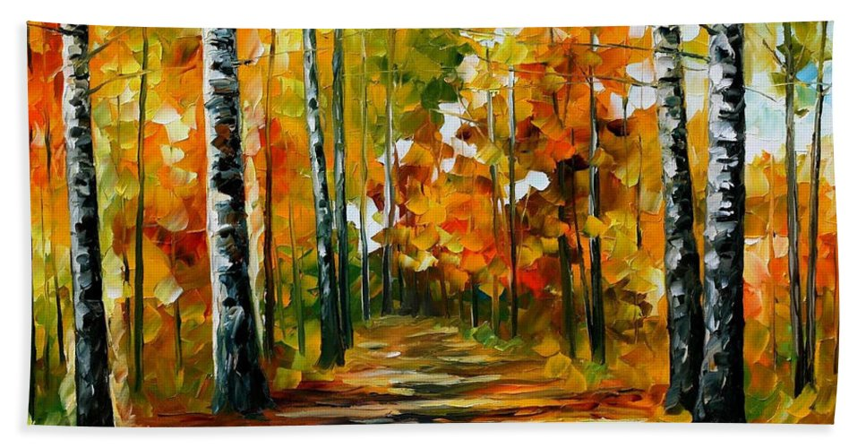 Oil Paintings Beach Towel featuring the painting Fiesta Of Birches - Palette Knife Oil Painting On Canvas By Leonid Afremov by Leonid Afremov