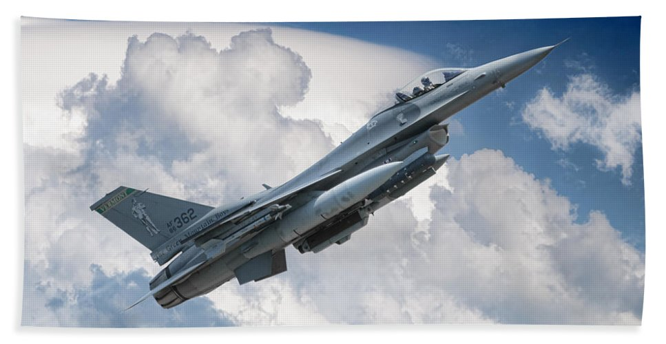 Aviation Flight Aircraft Military Speed Skies Atmosphere Space Fighter War Warplane Jet Air Force American Falcon Beach Towel featuring the photograph Fighting Falcon by Jeff Stephenson