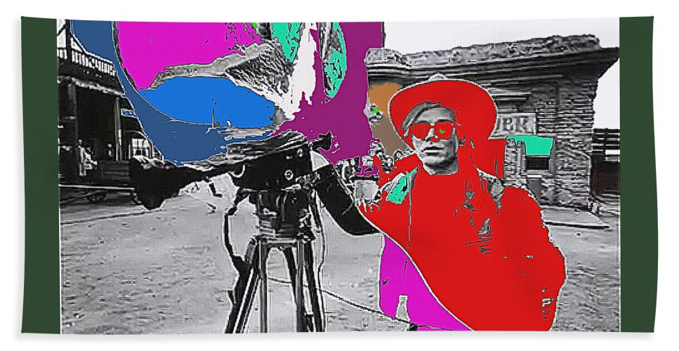 Film Homage Andy Warhol Lonesome Cowboys Old Tucson Arizona 1968-2013 Color Added Beach Towel featuring the photograph Film Homage Andy Warhol Lonesome Cowboys Old Tucson Arizona 1968-2013 by David Lee Guss