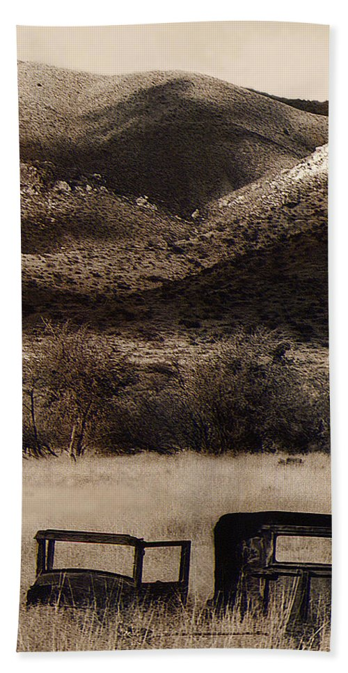 Film Homage End Of The Road 1970 Bisected Car Ghost Town Dos Cabezos Arizona 1967-2008 Sepia Toned Beach Towel featuring the photograph Film Homage End Of The Road 1970 Bisected Car Ghost Town Dos Cabezos Arizona 1967-2008 by David Lee Guss