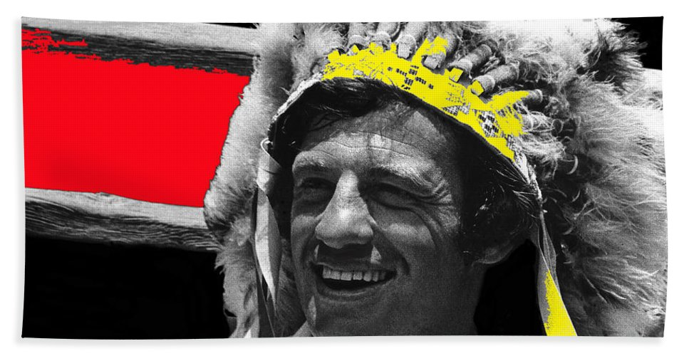 Film Homage Jean-paul Belmondo Fake Indian Bonnet Love Is A Funny Thing 1969 Old Tucson Arizona 1969-2008 Color Added Beach Towel featuring the photograph Film Homage Jean-paul Belmondo Fake Indian Bonnet Love Is A Funny Thing Old Tucson Az 1969-2008 by David Lee Guss