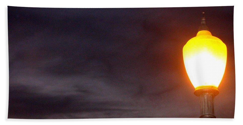 Film Noir Cinematographer John Alton Anthony Mann Raw Deal 1948. Street Light Downtown Casa Grande Az 2004 Beach Towel featuring the photograph Film Noir Cinematographer John Alton Anthony Mann Raw Deal 1948. Street Light Downtown Casa Grande by David Lee Guss