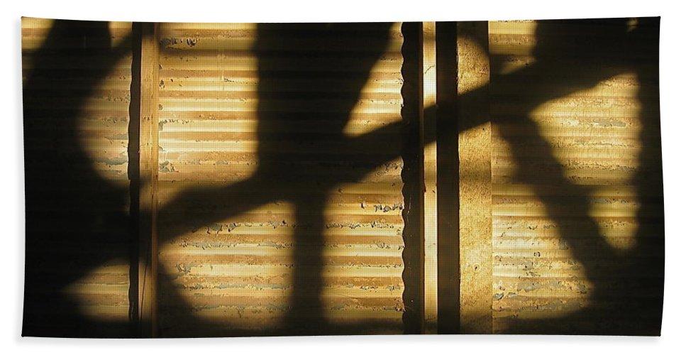 Film Noir Dick Powell Edward Dmytryk Cornered 1945 Building Interior Shadows Coolidge Arizona 2004 Beach Towel featuring the photograph Film Noir Dick Powell Edward Dmytryk Cornered 1945 Building Interior Shadows Coolidge Arizona 2004 by David Lee Guss