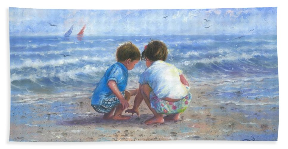 Brother And Sister Beach Towel featuring the painting Finding Sea Shells Brother And Sister by Vickie Wade