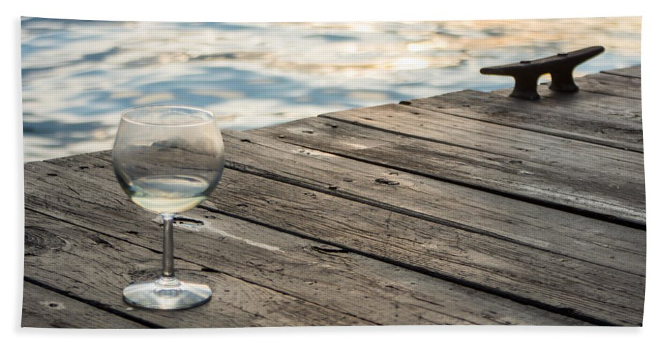 Glass Beach Towel featuring the photograph Finger Lakes Wine Tasting - Wine Glass On The Dock by Photographic Arts And Design Studio