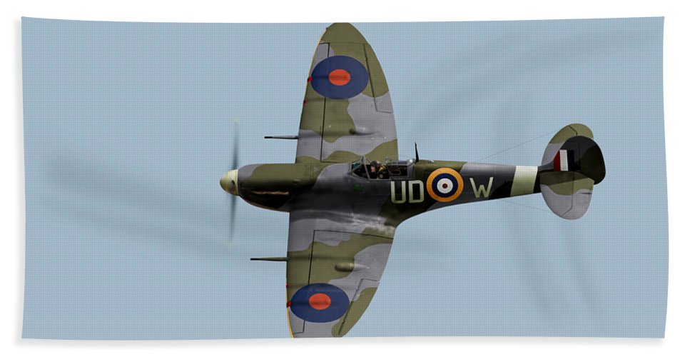 452 Squadron Beach Towel featuring the photograph Finucane's Spitfire by Gary Eason