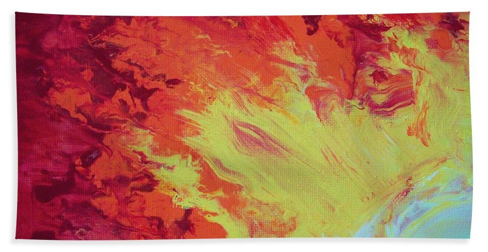 Fire Beach Towel featuring the painting Fire And Glory by Jewell McChesney