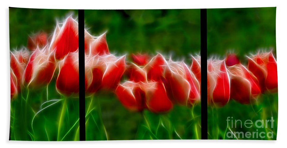 Fire And Ice Beach Towel featuring the digital art Fire And Ice Fractal Triptych by Peter Piatt