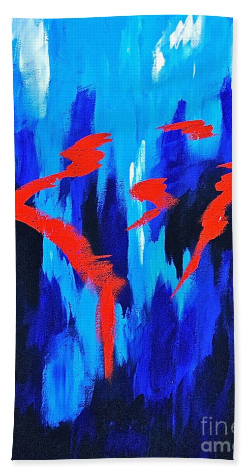 Abstracts By Herschel Fall Red And Blue 3d Beach Towel featuring the painting Fire And Ice by Herschel Fall