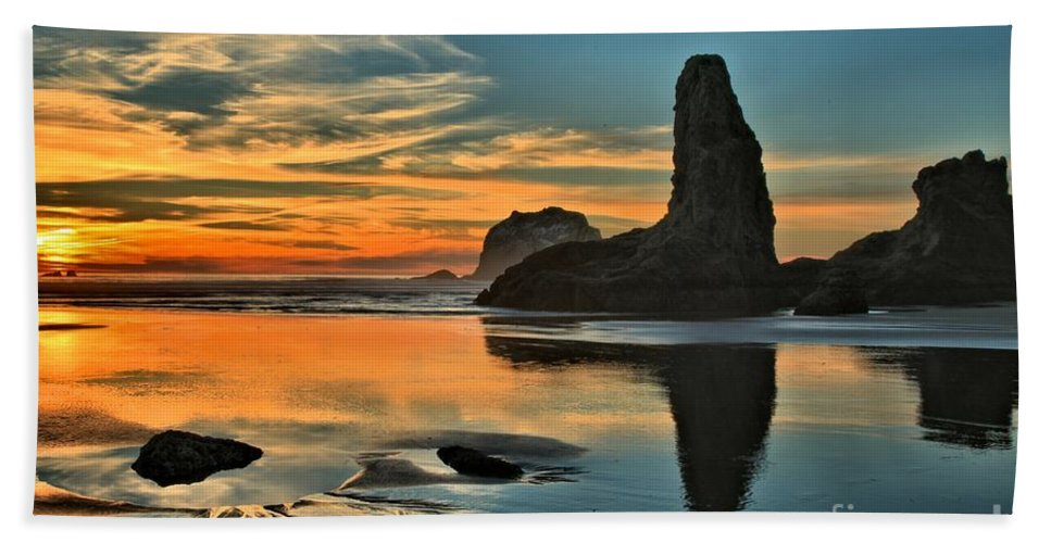 Bandon Beach Beach Towel featuring the photograph Fire At Low Tide by Adam Jewell
