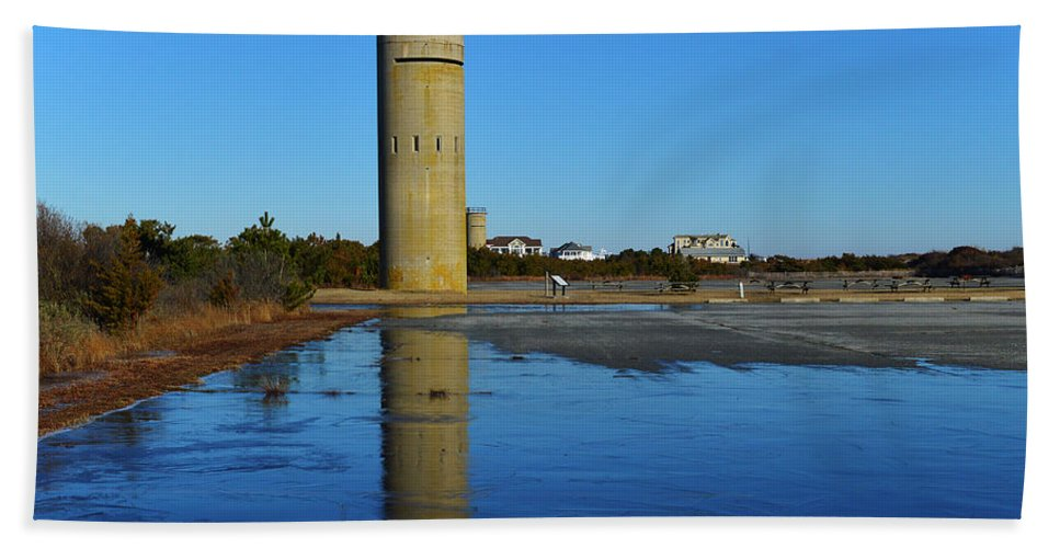 Fire Control Tower Beach Towel featuring the photograph Fire Control Tower 3 Icy Reflection by Bill Swartwout Photography