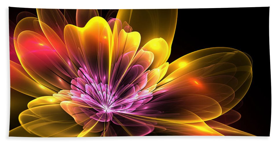 Flower Beach Towel featuring the digital art Fire Flower by Svetlana Nikolova