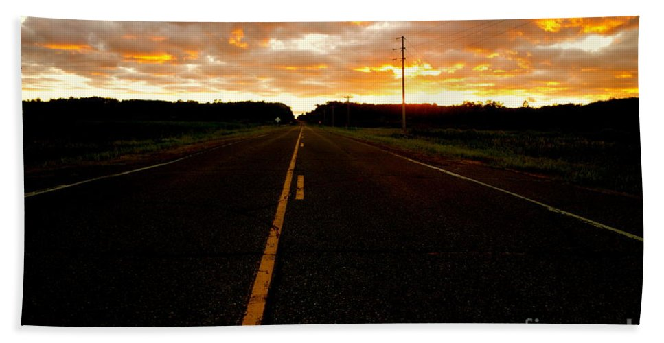 Road Beach Towel featuring the photograph Fire In The Sky by Jacqueline Athmann