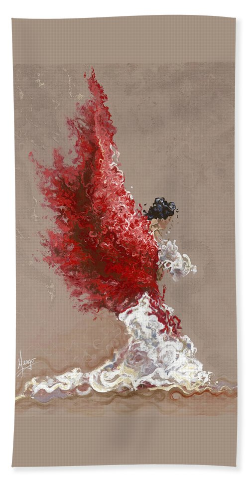 Dance Beach Towel featuring the painting Fire by Karina Llergo
