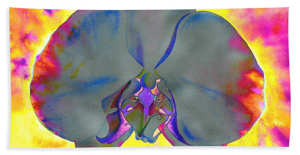 Watercolor Paintings Beach Towel featuring the painting Fire Orchid by H Cooper