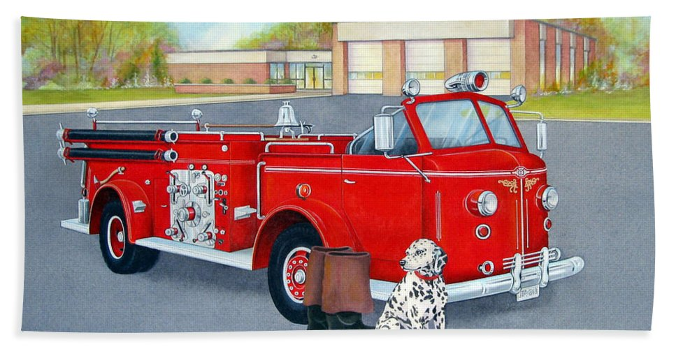 Red Beach Towel featuring the painting Firefighter - Still Life by Robert Boast Cornish