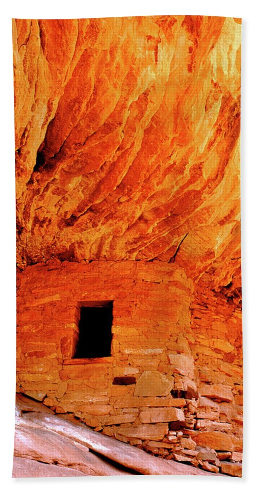 Anasazi Beach Towel featuring the photograph Firehouse Ruins by Ed Riche