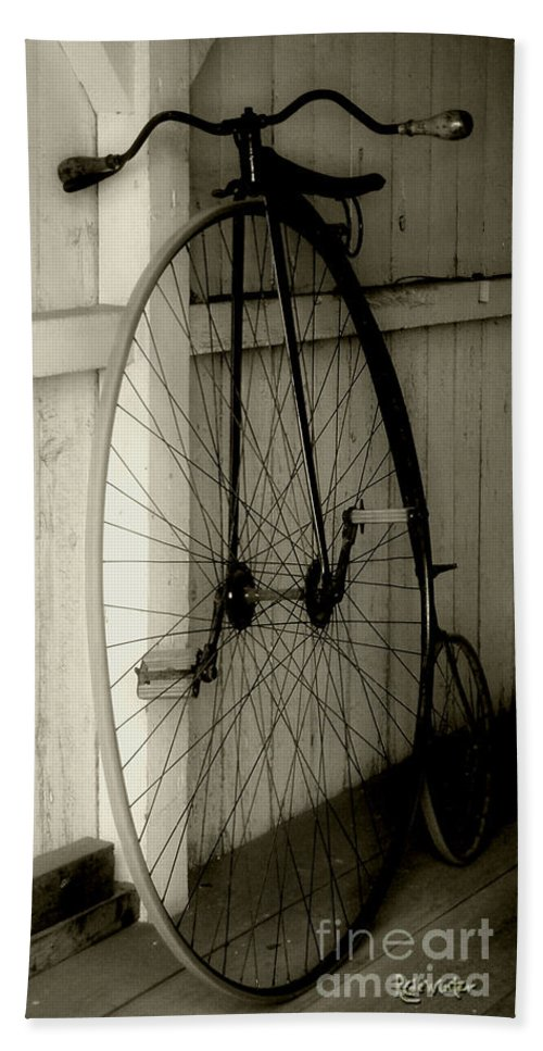 Velocipede Beach Towel featuring the photograph Firehouse Velocipede by RC deWinter