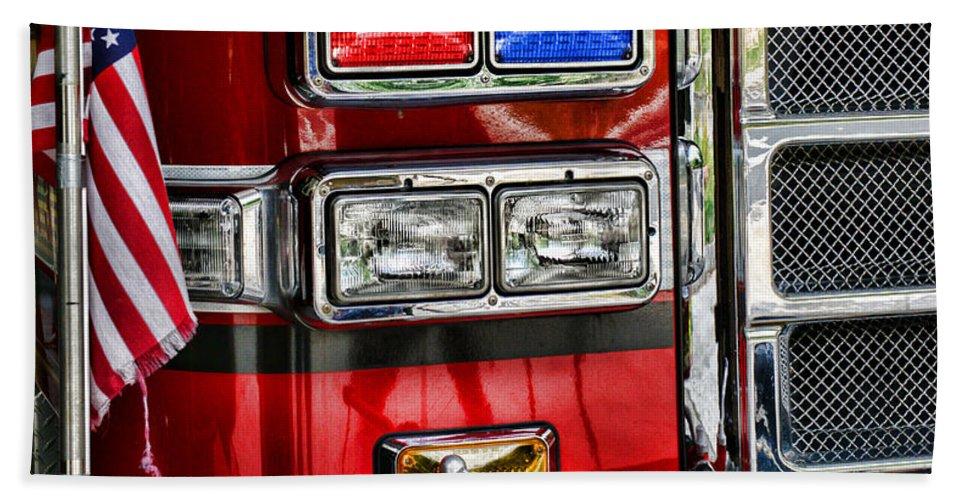 Fireman Beach Towel featuring the photograph Fireman - Fire Engine by Paul Ward