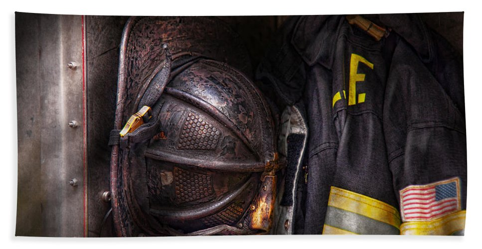 Fireman Beach Towel featuring the photograph Fireman - Worn And Used by Mike Savad