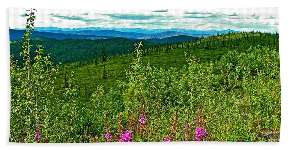 Fireweed And Mountains From Top Of The World Highway In Yukon Beach Towel featuring the photograph Fireweed And Mountains From Top Of The World Highway-yukon by Ruth Hager