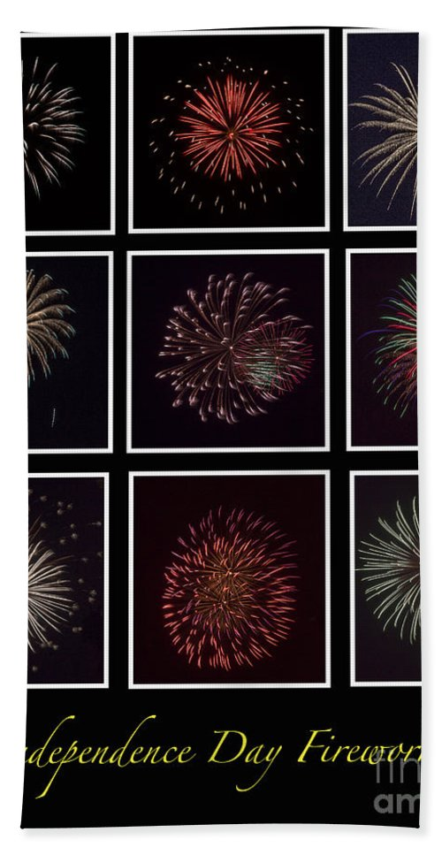Fire Beach Towel featuring the photograph Fireworks - Black Background by Scott Hervieux