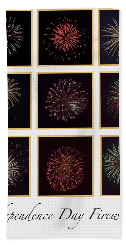 Fire Beach Towel featuring the photograph Fireworks - White Background by Scott Hervieux