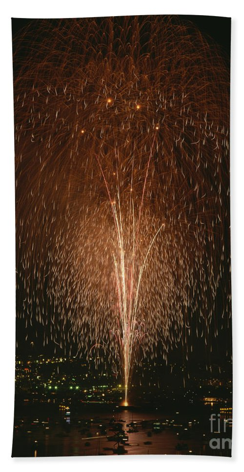 4th Of July Beach Towel featuring the photograph Fireworks Display Over Lake Union by Jim Corwin