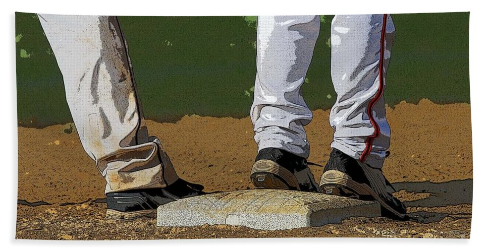 Baseball Beach Towel featuring the photograph First Base by Cindy Manero
