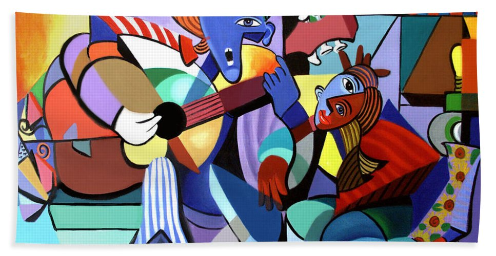 First Date Beach Towel featuring the painting First Date by Anthony Falbo