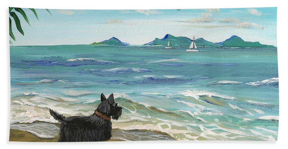 Painting Beach Towel featuring the painting First Day Of Vacation by Margaryta Yermolayeva