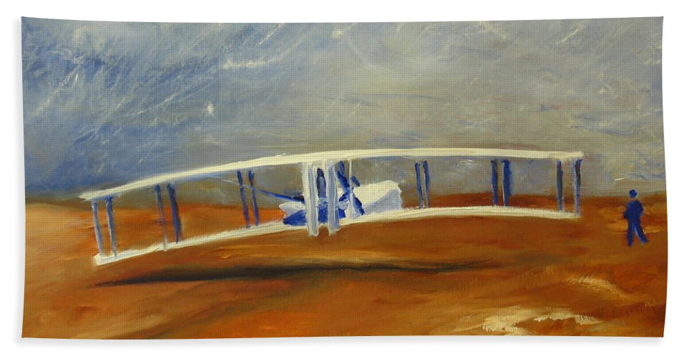 Wright Brothers Beach Towel featuring the painting First Flight Aka Kittyhawk Dream by Tina Swindell