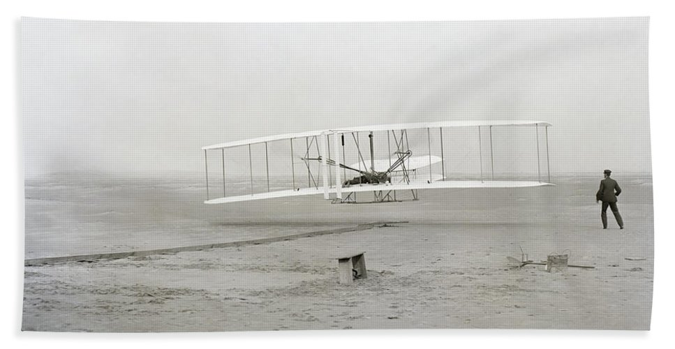 wright Brothers Beach Towel featuring the photograph First Flight Captured On Glass Negative - 1903 by Daniel Hagerman