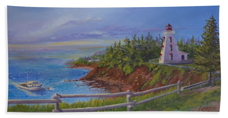 Lighthouse Beach Towel featuring the painting First Haul by Lorraine Vatcher