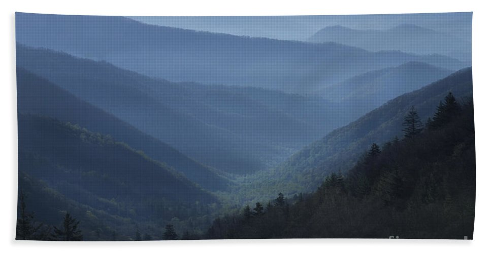 Landscape Beach Towel featuring the photograph First Light On Clingman's Dome by Sandra Bronstein