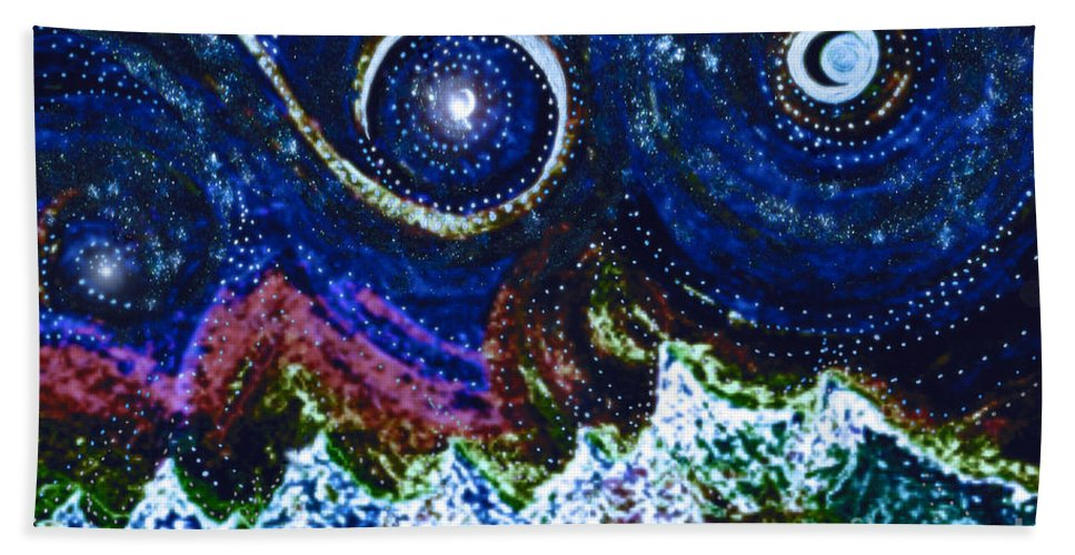 First Star Beach Towel featuring the painting A Beautiful Life By Jrr by First Star Art