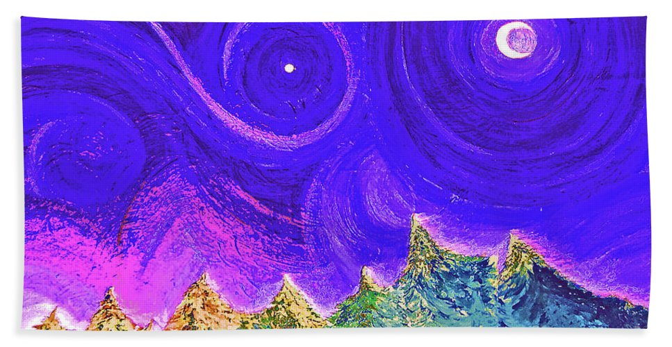 First Star Beach Towel featuring the painting First Star Sunrise by First Star Art