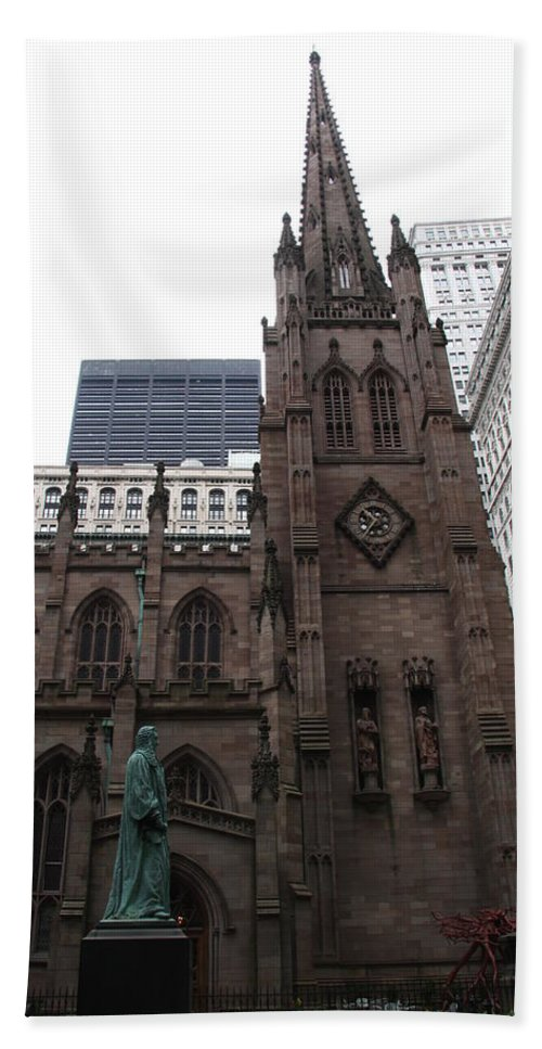 Cathedral Beach Towel featuring the photograph First Trinity Church Nyc by Christiane Schulze Art And Photography
