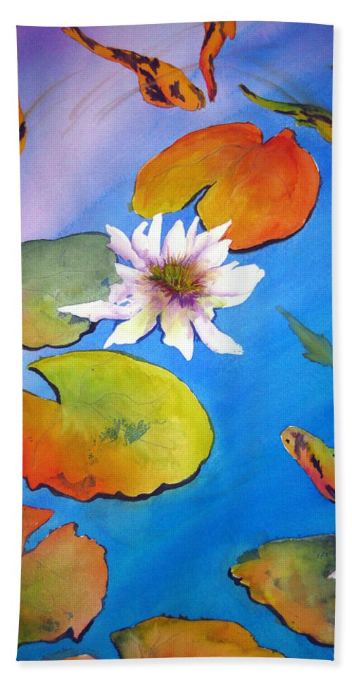 Lil Taylor Beach Towel featuring the painting Fish Pond I by Lil Taylor