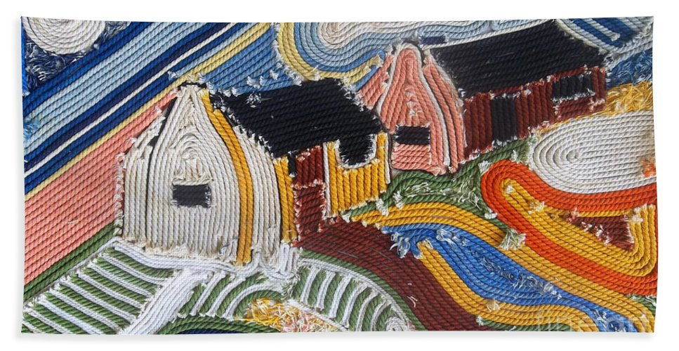 Fishing Village Beach Towel featuring the mixed media Fishermans Cottages String Collage by Caroline Street