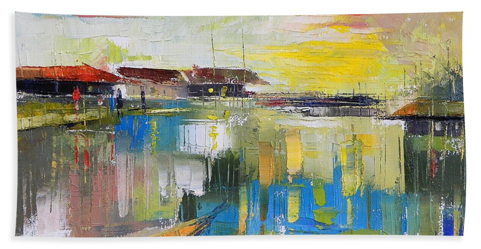 Water Beach Towel featuring the painting Fishers Haven by Said Oladejo-lawal