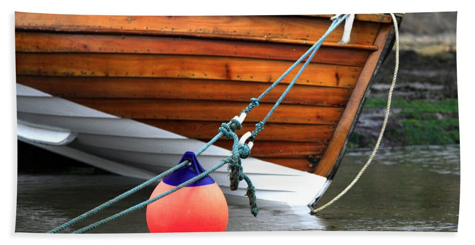 Anchor Beach Towel featuring the photograph Fishing Boat by Deborah Benbrook