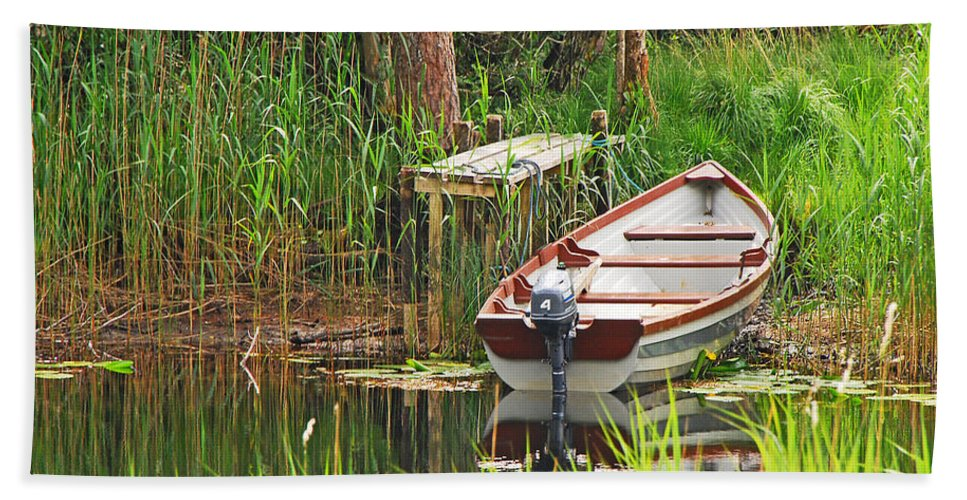 Boat Beach Towel featuring the photograph Fishing Boat by Mary Carol Story