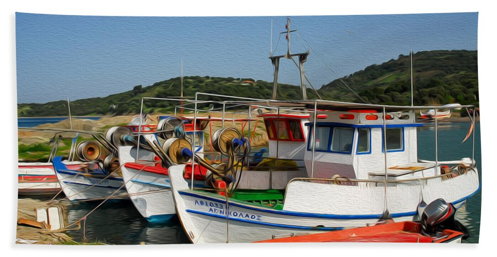 Europe Beach Towel featuring the digital art Fishing Boats by Roy Pedersen
