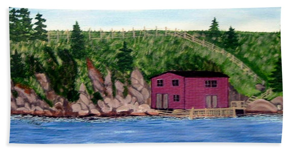Fishing Stage Beach Towel featuring the painting Fishing Gear Stage by Barbara Griffin